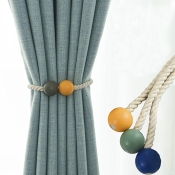 Magnetic Wooden Bead Ball Curtain Tiebacks 1