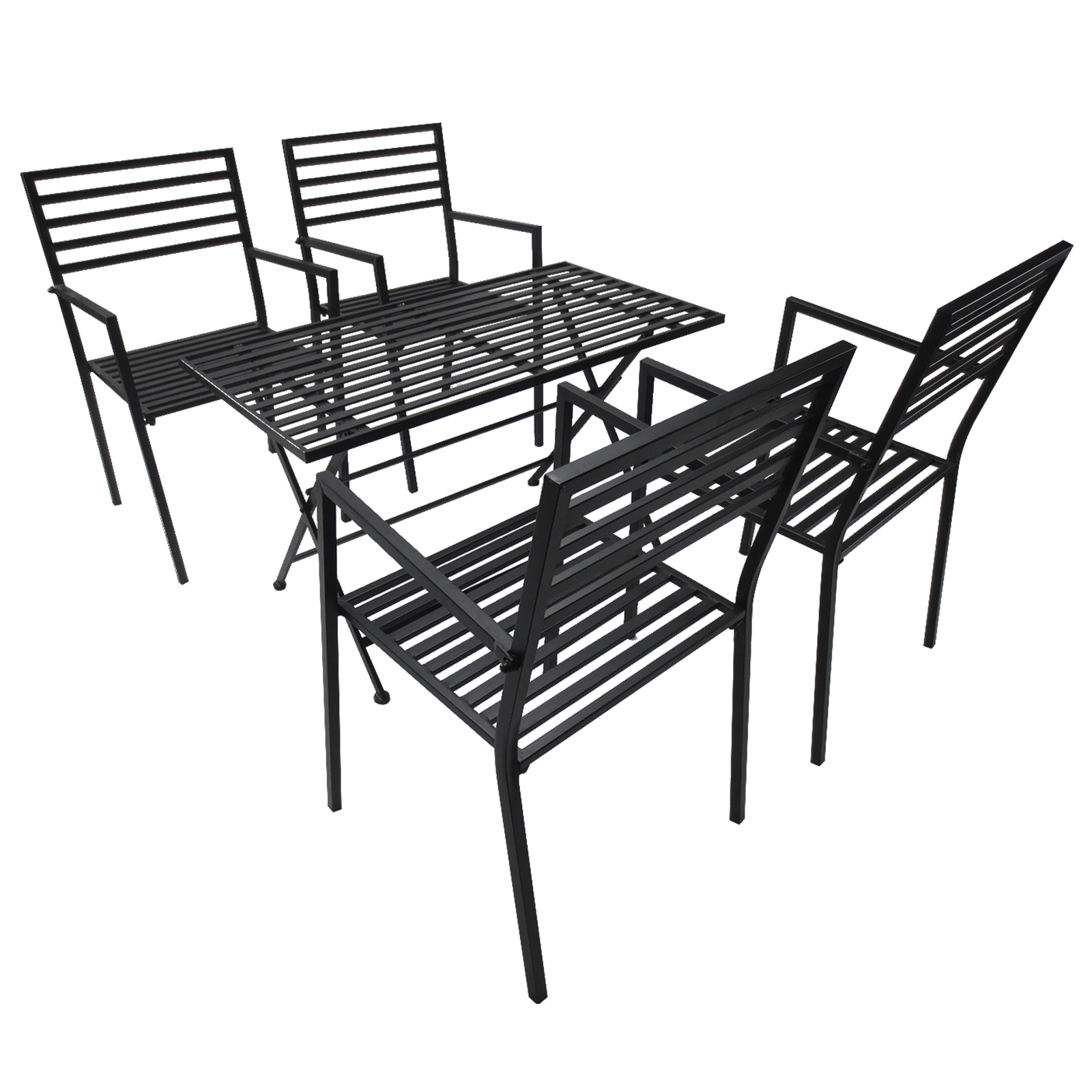 Outsunny Set Folding Dining Table And 4 Chairs For Garden Iron Black