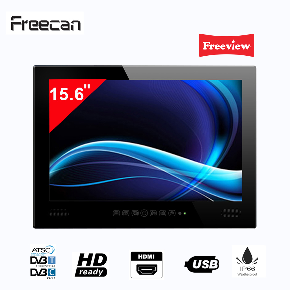 Freecan Premium Widescreen 15.6 Inch Waterproof Bathroom TV, Freeview Shower LED Mirror TV