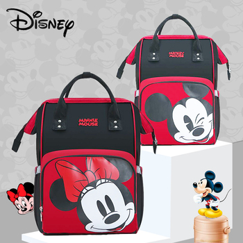 Disney Cute Minnie Mickey Red Diaper Bag Waterproof/Baby Care/Mummy Bag Maternity Backpack Large Nappy Bag Striped Bow Dot Smile Bags Kids