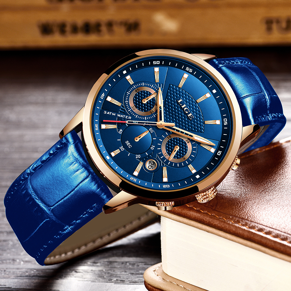 H0d4722c755b34b68ad75788d1ae02d9av LIGE Fashion Mens Watches Top Brand Luuxury Blue Quartz Clock Male Casual Leather Waterproof Sport Chronograph Relogio Masculino