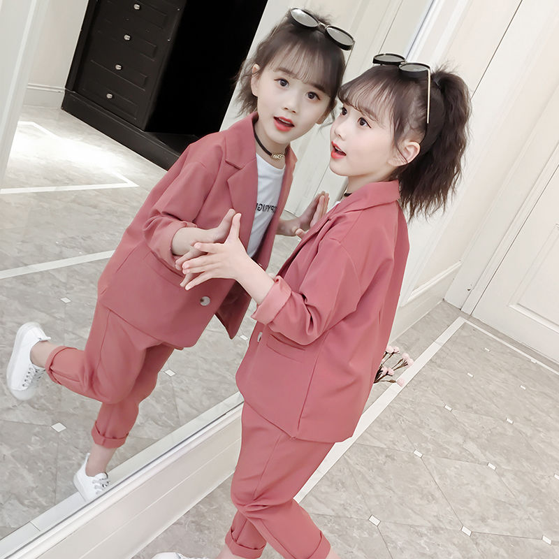 Girls Spring And Autumn Suit 2020 And Clothing New Version Of Children's Western Style Girl Suit Fashionable Two-piece Set