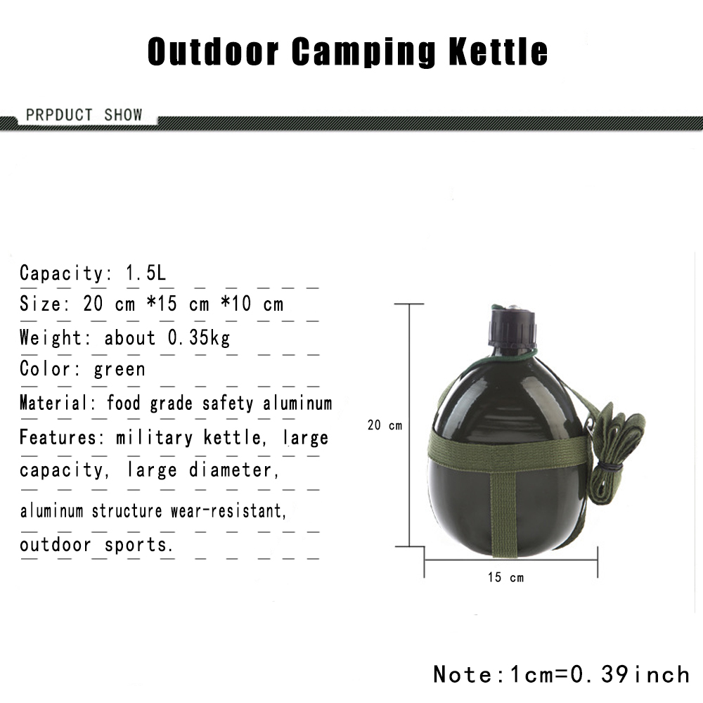 1 5 L Sport Water Bottle Food Grade Aluminum Water Bottle Camping Hiking Fitness Tourism Portable Durable Kettle in Sports Bottles from Sports Entertainment