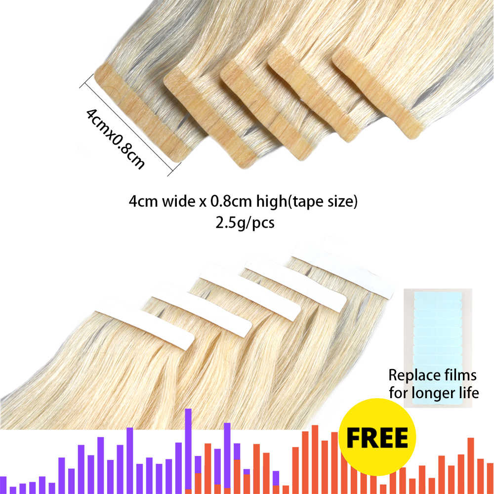 Tape In Human Hair Extensions Skin Weft Straight Remy Hair 20 / 40pcs Double Sided Tape Hair 14 16 18 20 22 24 26 INCH Bigsophy