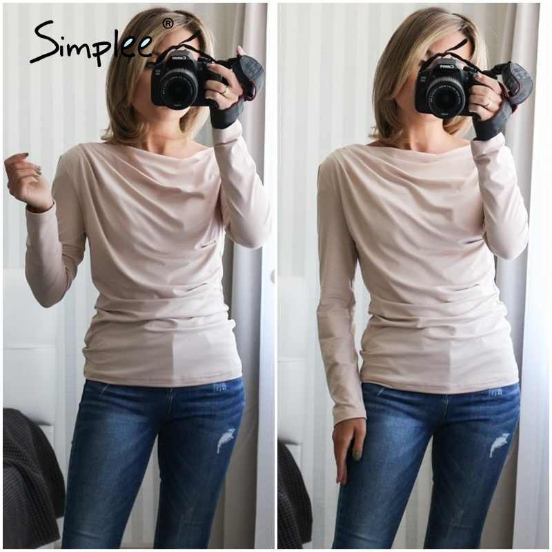 Simplee Casual Een Schouder Vrouwen Top Zomer Lange Mouw T-shirt Vrouwelijke Tops Sexy Asymmetrische Slanke Effen Dames Tops Shirts 2020