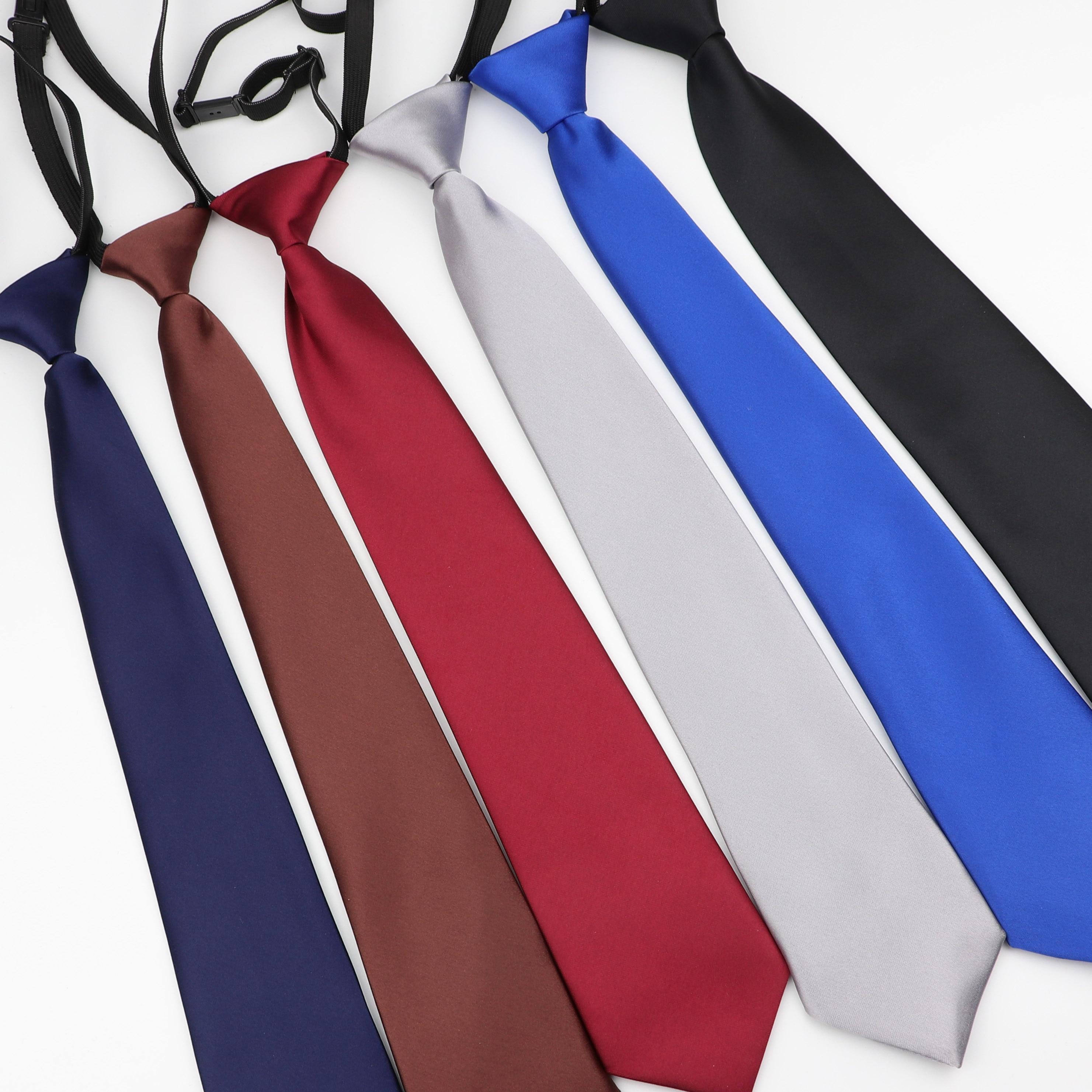 Men's Solid Color Lazy Slim Necktie Skinny Adjustable Tie Simplicity Elastic Band 7cm Width Mal Party Formal Designer Man Ties