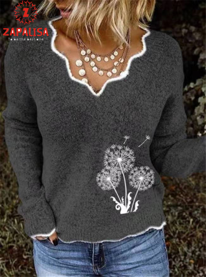 ZAPALISA Long Sleeve Winter Sweater Irregular  V Neck Solid Color Spliced Knit Pullovers Fashion Dandelion Embroidery Sweater