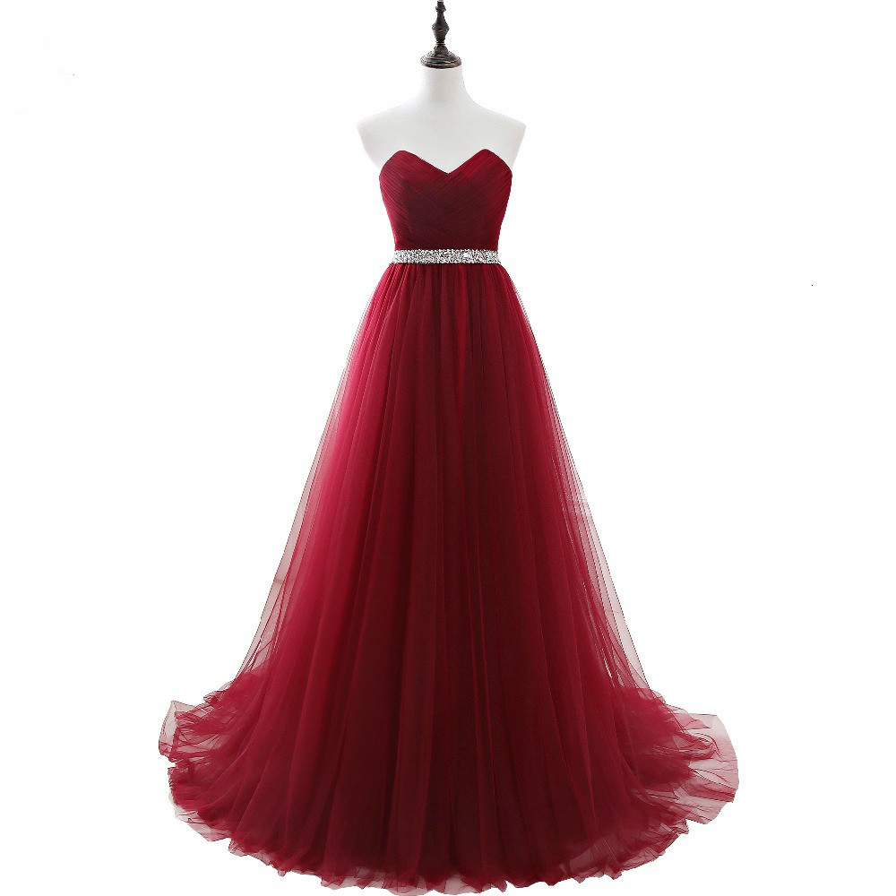 Elegant Dress Women For Wedding Party Burgundy Sweetheart Long Dresses Evening Wine A-Line Vestidos Mae De Noi