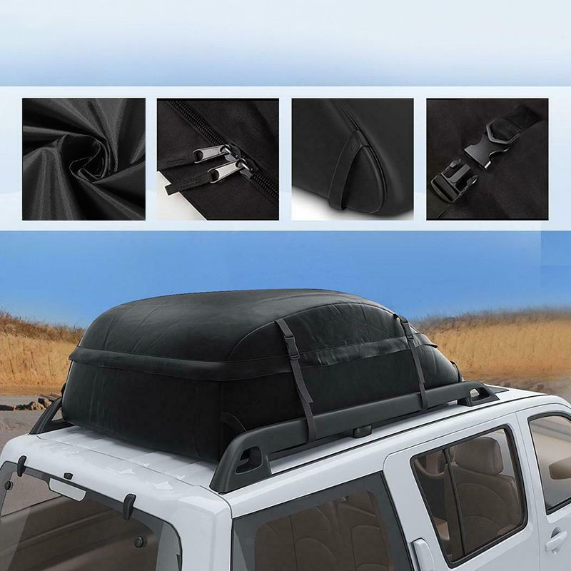 130X100X43cm 20 Cubic Car Cargo Roof Bag Waterproof Rooftop Luggage Carrier Black Storage Travel Waterproof SUV Van for Cars image