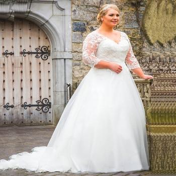 Elegant V Neck Tulle A Line Wedding Dresses Plus Size 3/4 Sleeves Applique Backless Bridal Gown Wedding Dress Robe De Mariee