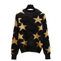 Fashion house spring 2019 fashion line stylish black sweater star mink fleece loose fitting slim sweater top