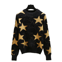 Fashion house spring 2019 fashion line stylish black sweater star mink fleece loose fitting slim sweater top
