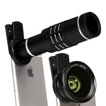 цена на Mobile phone external camera 18 times telephoto lens 0.6 times wide angle macro 3in1 mobile phone lens for iPhone 8 7 6plus lens