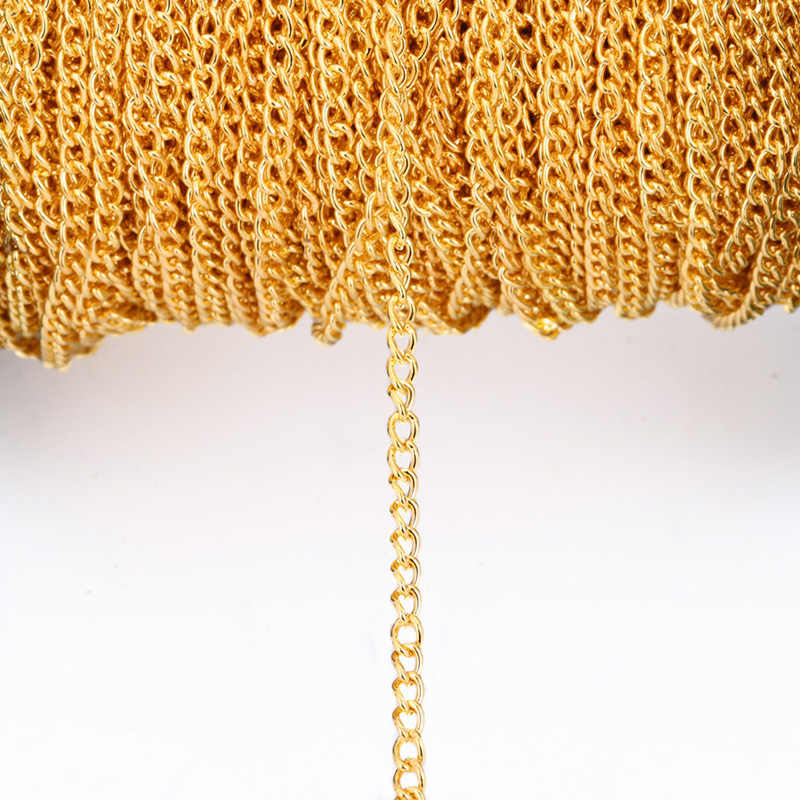 1 m/lote 2,5 3,5 4,5mm oro plata bronce ovalado enlace collar cadena a granel latón para fabricación de joyería DIY materiales hallazgos suministros