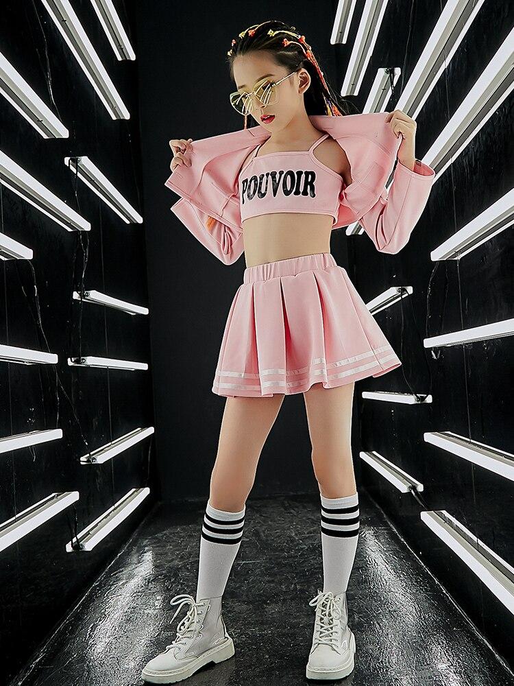 Women Fashion Pink Sets Children Jazz Dance Costume Boy Girls Street Performance Hip Hop Clothes Danceing Top Pants Coat Set Kid