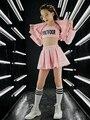 Frauen Mode Rosa Sets Kinder Jazz Dance Kostüm Junge Mädchen Straße Leistung Hip Hop Kleidung Danceing Top Hosen Mantel Set kid