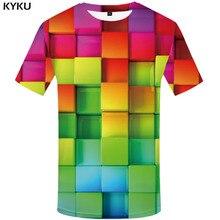 KYKU Brand Rubik\S Cube T-shirt Men Psychedelic Anime Clothes Tetris T-shirts 3d Russia Tshirt Printed Harajuku Funny T shirts
