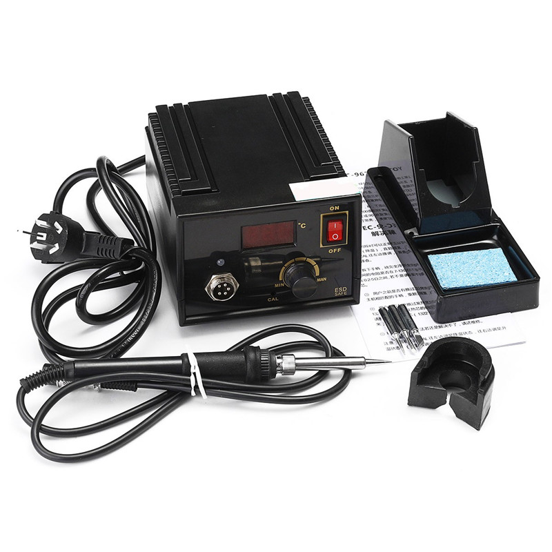 967 110V 220V Black Metal Electric Rework 967 Soldering Station Iron LCD Display With 3pcs Tips  Iron Handle