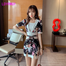 2019 Japanese style new improved girl retro fake two-piece kimono dress belt