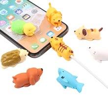 FFFAS Япония USB кабель укус мобильного телефона Декор животных протектор Организатор зарядное устройство провода намотки головы для Iphone 7 8 X Plus