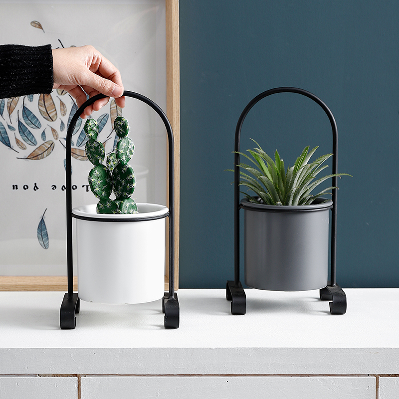 Ceramic fleshy flower pots modern minimalist Nordic style wrought iron Stands flower Tabletop Ornaments Home Decoration
