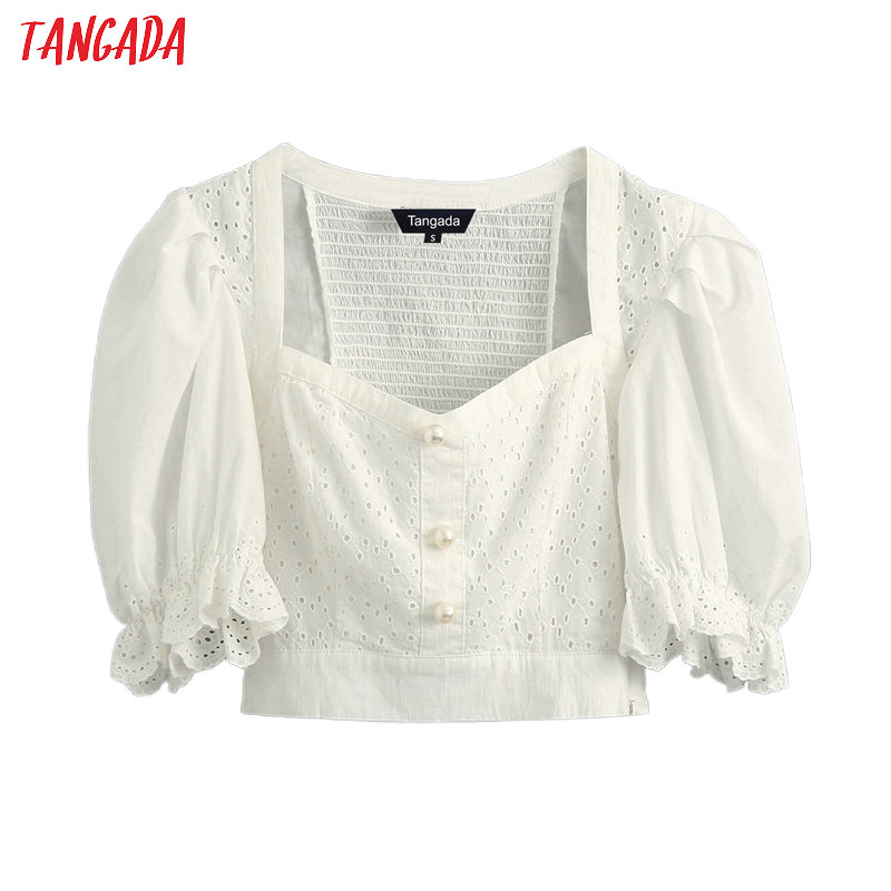 Tangada Women White Embroidery Cotton Crop Shirt Short Sleeve 2020 New Arrival Chic Female Sexy Tops BE508
