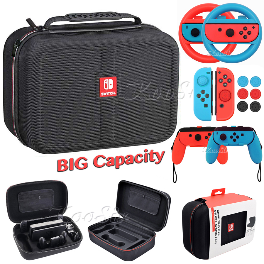 Nintend Switch NS Accessories Console Carrying Storage Bag Joycon Handle Grips Wheel Silicone Case For NintendoSwitch Games
