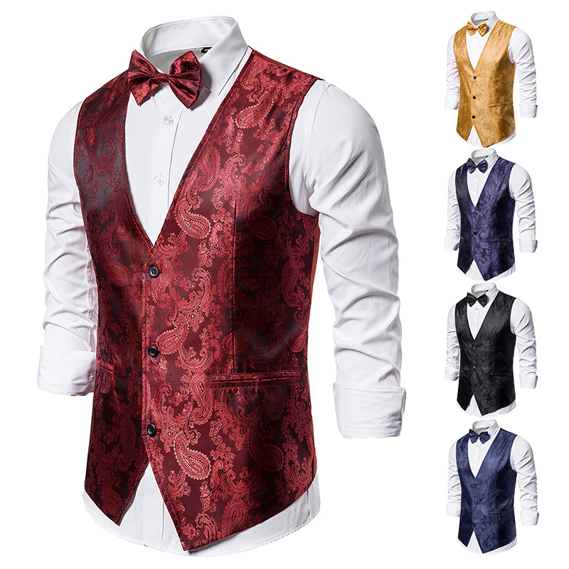Banquet Wedding Waistcoat Party Waistcoat Bar Night Club Suit Men Waistcoat Bright Suit Paisley Waistcoat