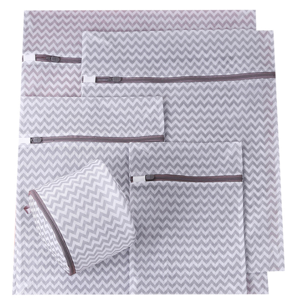 5Pcs Home Socks Breathable Lingerie Washing Clothes Water Ripple Zippered Bra Travel Laundry Bag Set Net Reusable Organizer Mesh