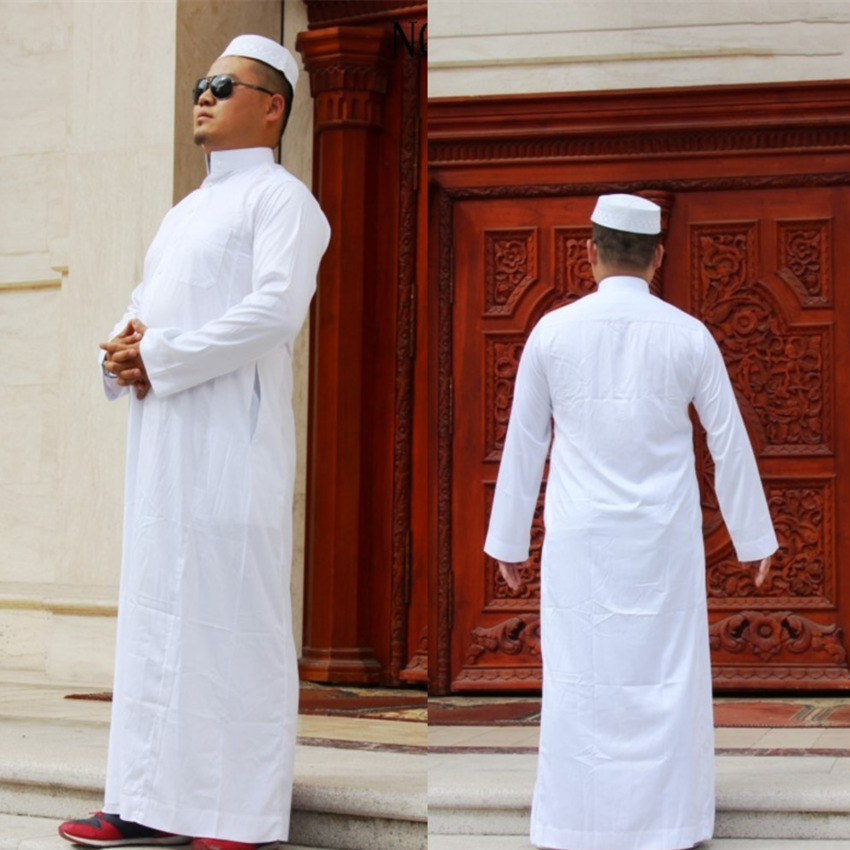 Men Muslim Robes Islamic Clothing Dubai Arabic Abaya Kaftan  Eid Mubarak Prayer Maxi Jubba Thobe Man Traditional Costume 7Color