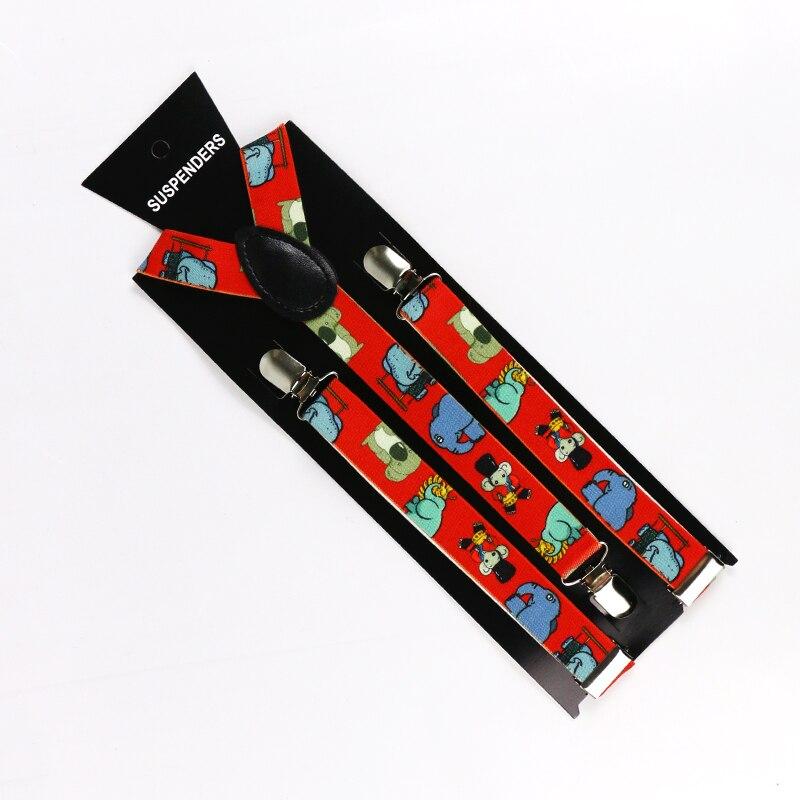 HUOBAO Adult 2.5cm Wide 3 Clips On Adjustable Red Elephant Animal Print Suspenders Braces For Men Women
