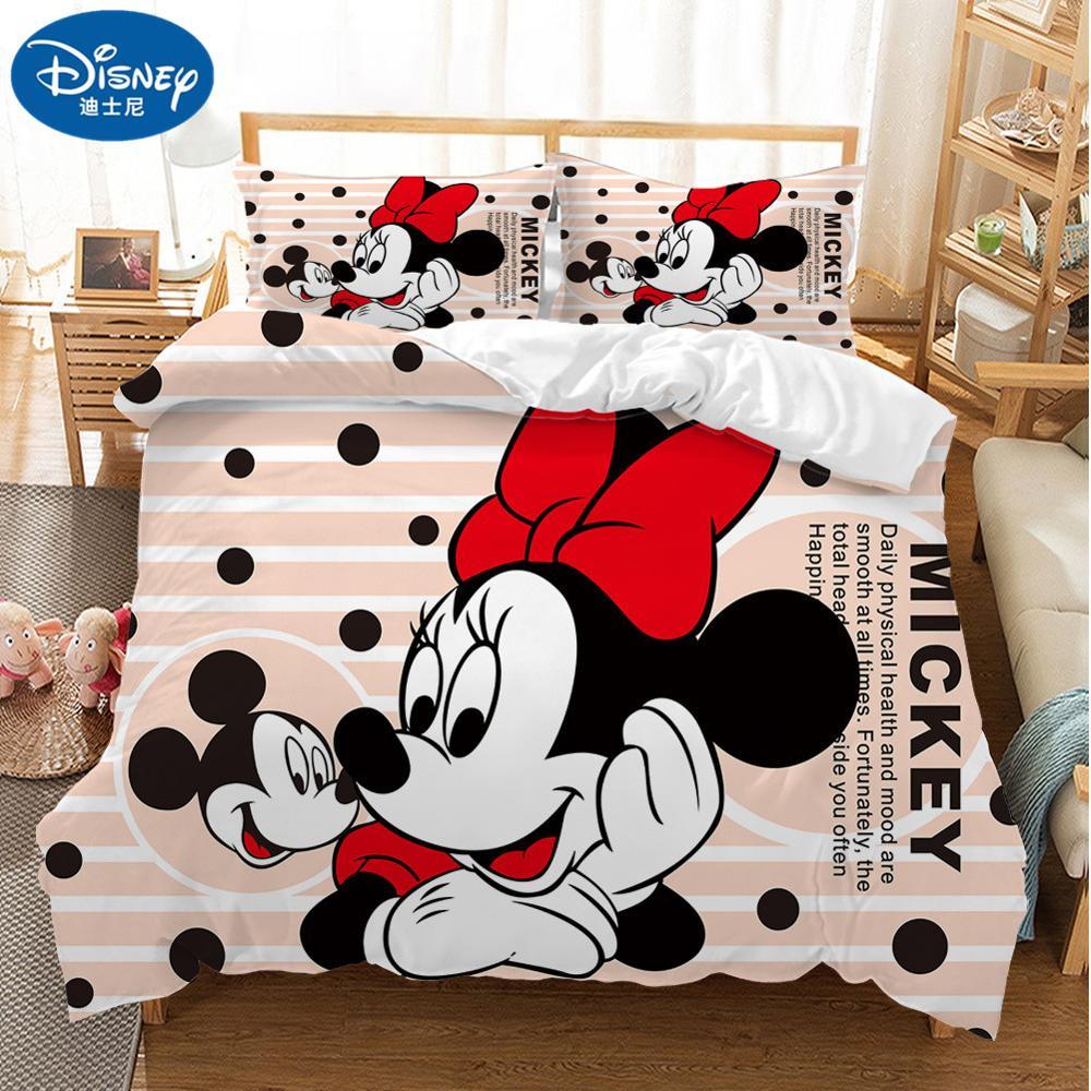 Lovely Soft Adult/kids Minnie Bedding Set Girls Duvet Cover Bed Sheet Cartoon Pattern Full Queen Twin Bed Linen PillowCase Gifts