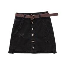 Women Summer Black Casual High Waist Package Hip Denim Skirts Street Pockets Button All-matched Jeans Skirt Jupe Femme