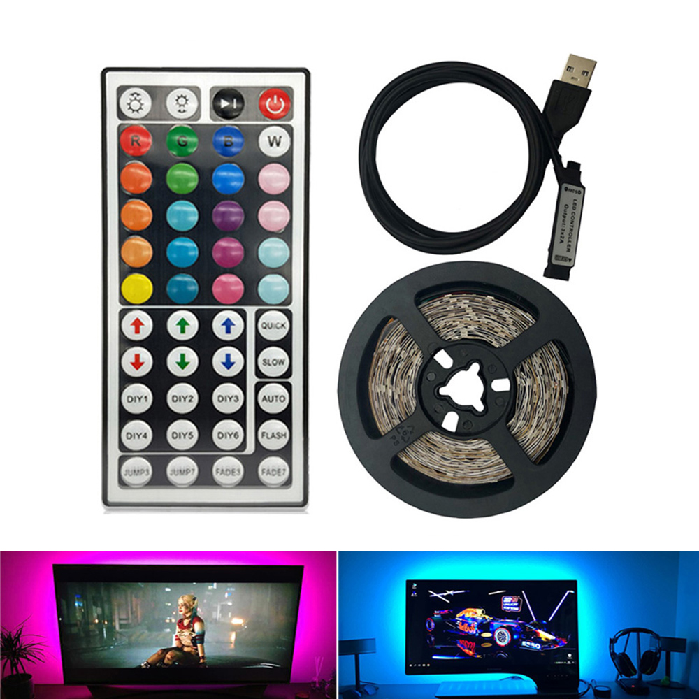 44 Keys USB Led Light Strip DC 5V SMD 2835 60Leds/m Led Strip HDTV TV Desktop PC Screen Backlight Bias Lighting 1M 2M 3M 4M 5M