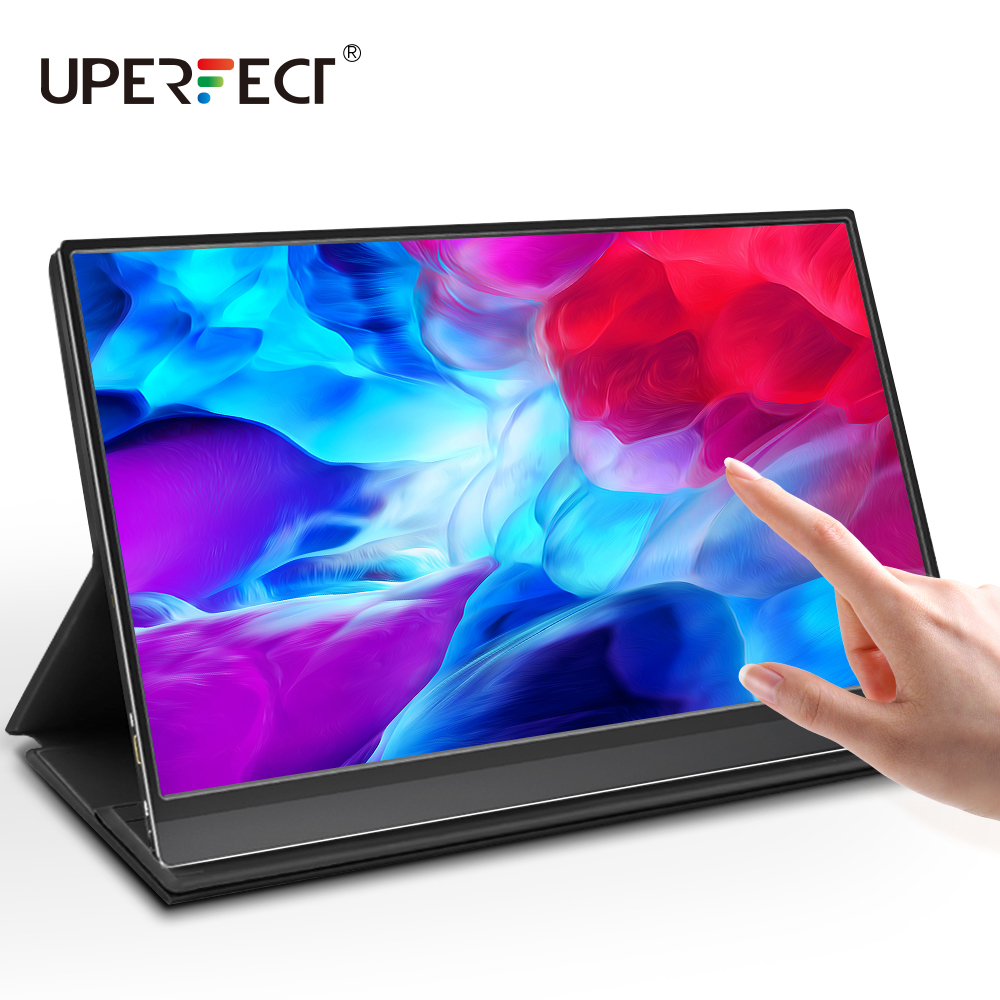 UPERFECT Rechargerable Portable Monitor Touchscreen Upgraded 15.6 Inch IPS HDR 1080P FHD USB C Display Built-in 10800mAh Battery