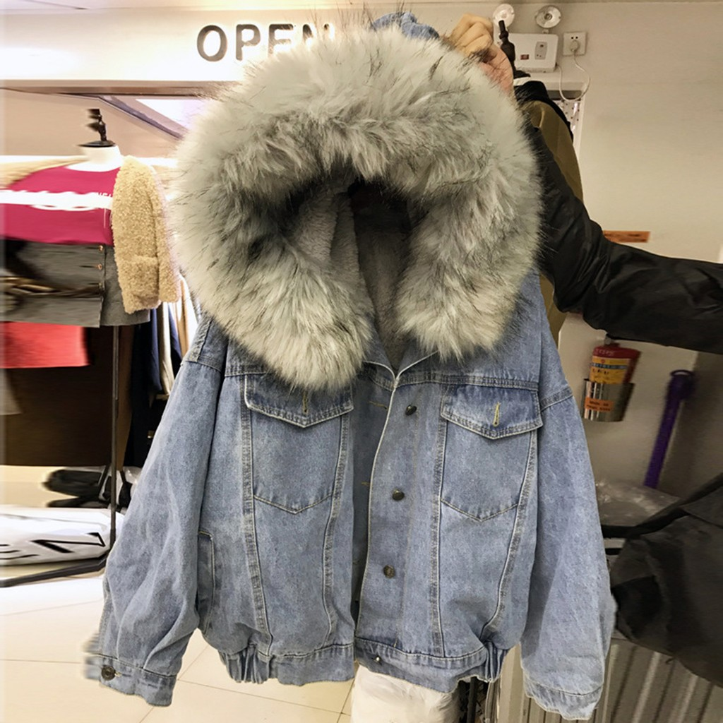 Denim Jacket Padded Jeans Windbreake Velvet-Coat Hooded Faux-Fur-Collar Bomber Female title=