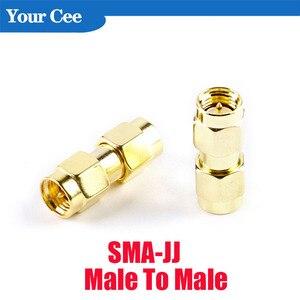 5 pces SMA-JJ macho para plugue masculino rf adaptador coaxial duplo conector de agulha SMA-SMA 2 macho duplo banhado a ouro bronze adaptadores rf