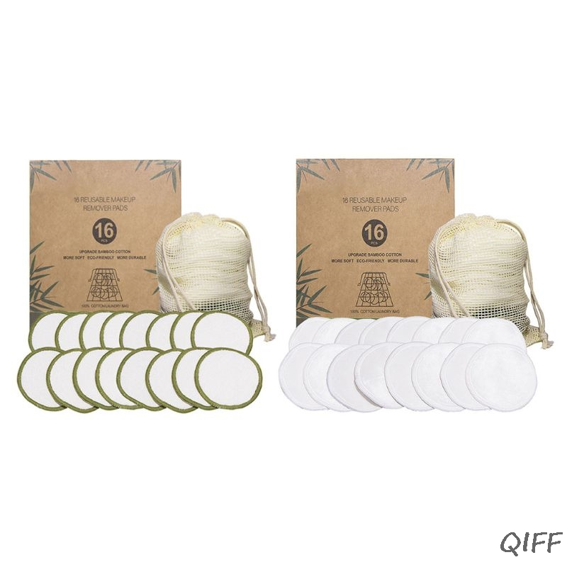 16 Pcs/set New Reusable Bamboo Fiber Makeup Cotton Pad Washable Remover