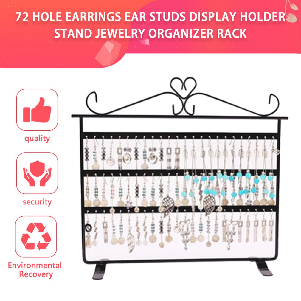 72 Holes Earrings Studs Ear Display Holder Stand Showcase Metal Jewelry Hoop Earring Organizer Rack Flat Earing Hook Holder