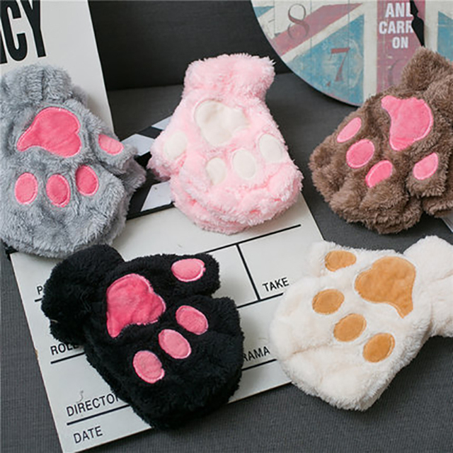 Women Bear Plush Cat Paw Claw Gloves Winter Faux Fur Cute Kitten Fingerless Mittens Gloves Christmas Halloween for Womens Girls 6