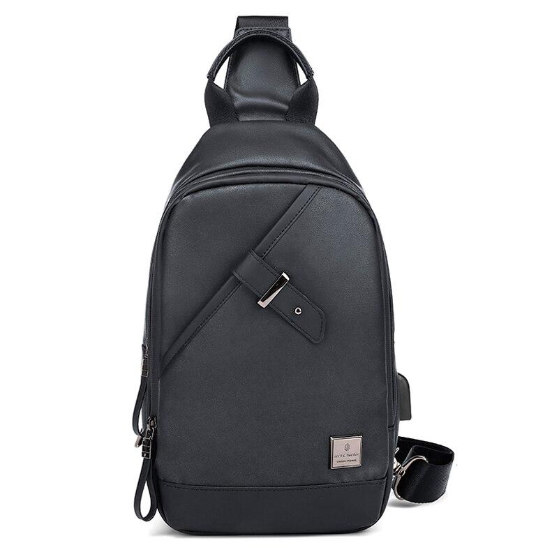 Fashion Men's New Chest Bag Large Capacity USB Charging Shoulder Crossbody Bag Casual Travel Student Tablet Schoolbag Messenger Bag