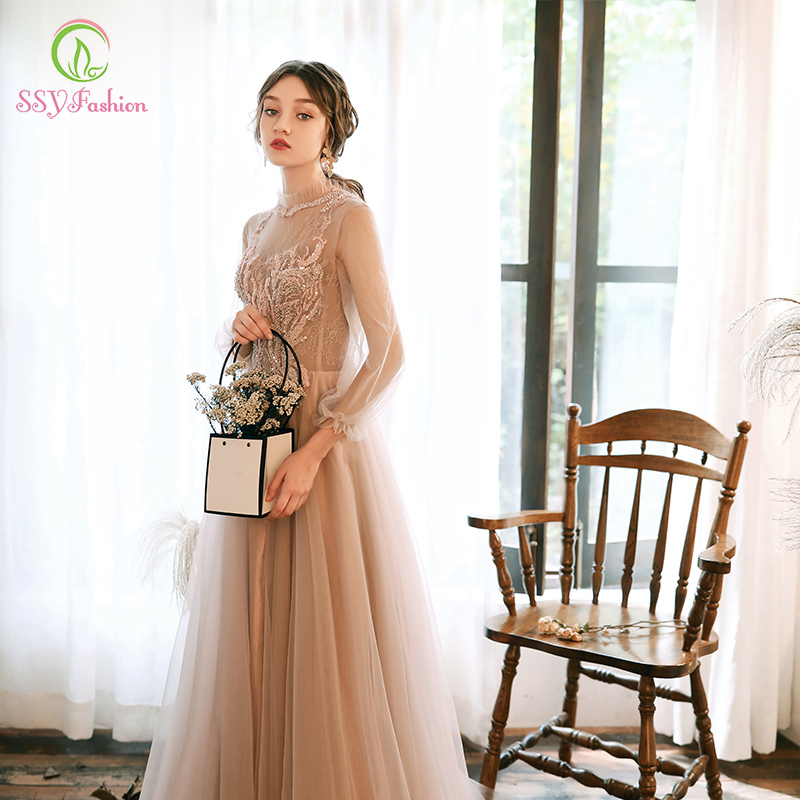 SSYFashion New Champagne Evening Dress Long Sleeve High-neck Sequins Appliques Long Prom Formal Gown Vestidos De Noche