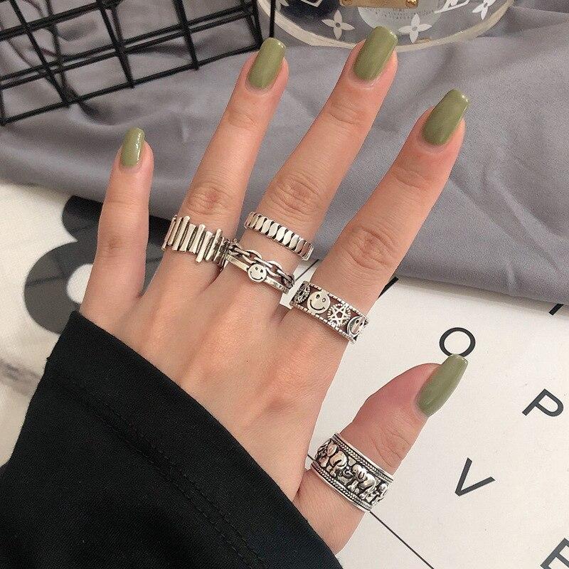 Регулируемое кольцо в стиле ретро, регулируемое кольцо в стиле панк с улыбающимся лицом, спиртом, змеей, модное индивидуальное украшение в с...