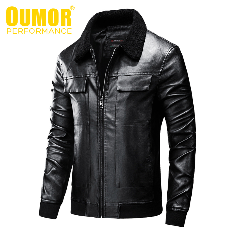 Oumor Men Autumn New Casual Vintage Biker Leather Jackets Coat Men Fashion Outfit Bomber Motorcycle PU Leather Jacket Coats Men