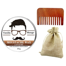 Growth-Gel Beard-Wax for Beeswax Moisturizing with Bag Moustache Comb LANTHOME Men 3pc/Set