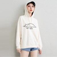 beige hoodie cat novel hoodies womens sweat femme oversize ladies hood sweatshirts fall clothing cotton woman hoody