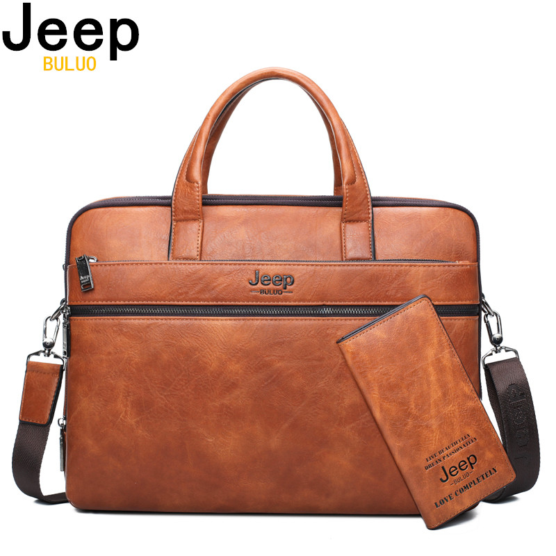 "JEEP BULUO Men's Briefcase Bags For 14"" Laptop Man Business Bag 2Pcs Set Handbags High Quality Leather Office Shoulder Bags Tote"