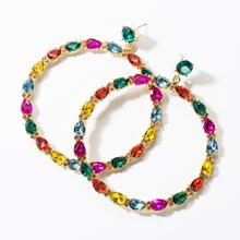 3 Colors Crystal Round Pendant Big Dangle Earrings For Women Hot Sale Fashion Girls' Statement Earrings 2019 New Accessories цена 2017