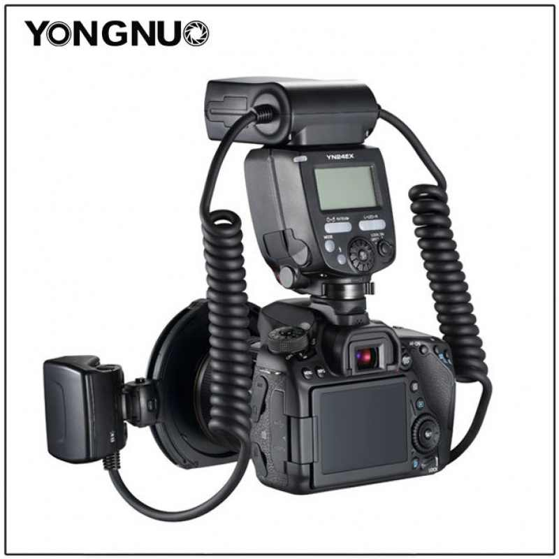 YONGNUO YN24EX YN24 EX Flash D'anneau Macro E-TTL Flash Speedlite avec 2 pièces Têtes de Flash 4 pièces Bagues D'adaptation pour Canon EOS Caméras
