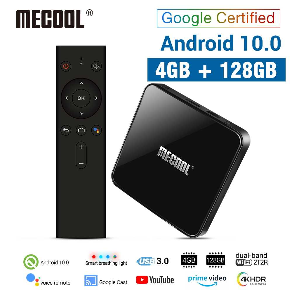 Mecool KM3 Android 10.0 Tv Box 4G DDR4 128G 64G Rom Amlogic S905X2 2.4G/5G Wifi 4K Bt Voice Control Google Gecertificeerd Tv Box